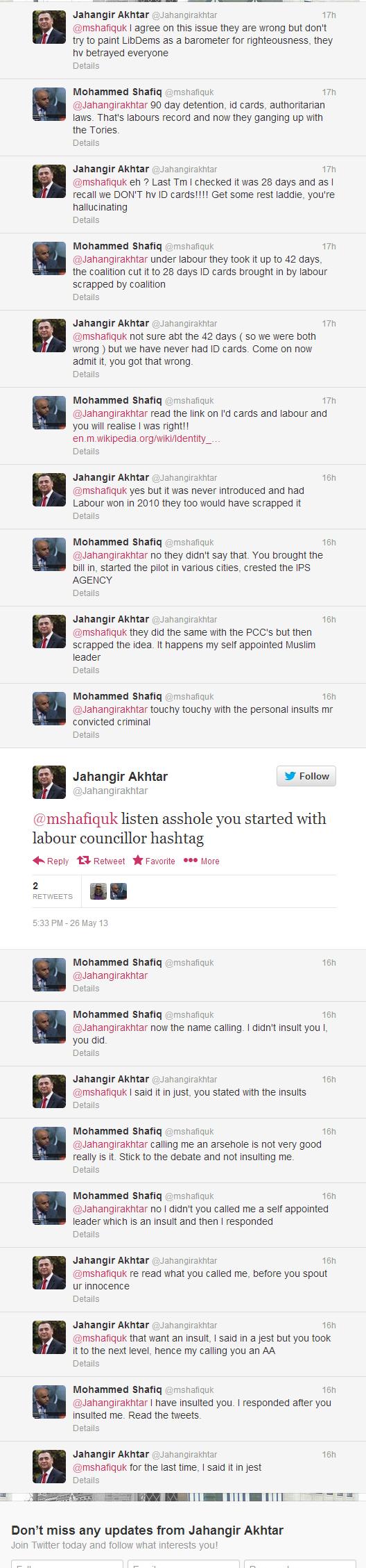 Twitter - Jahangirakhtar- @mshafiquk listen asshole you ...