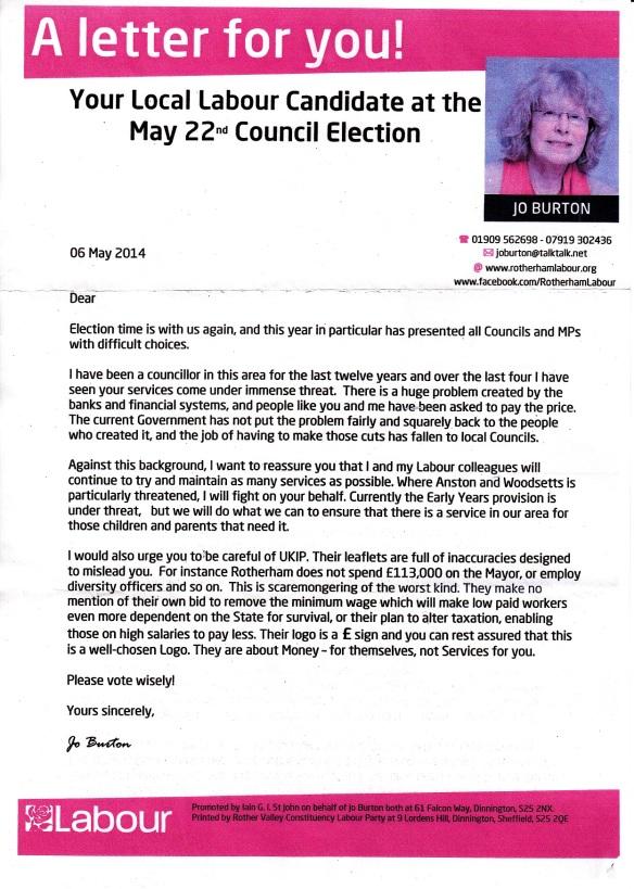 Jo Burton letter