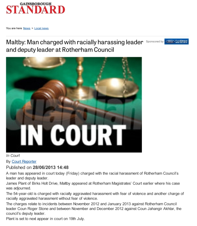 Maltby_ Man charged with racially harassing leader and deputy leader at Rotherham Council - Local news - Gainsborough Standard