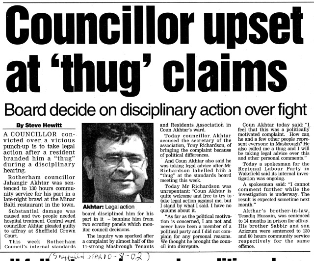 Councillor Upset At Thug Claims