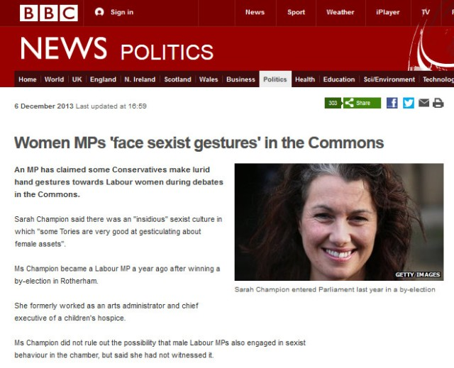 Champion on sexism BBC 6 Dec 2013