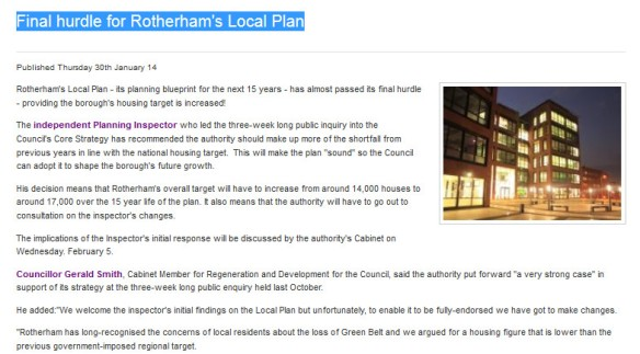 Final hurdle for Rotherham's Local Plan 2014-01-30