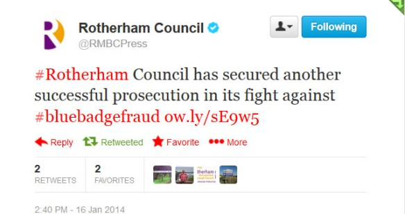 RMBC Blue Badge prosecution tweet 2014-01-16