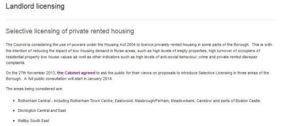 Selective licensing of private rented housing 2014-01-17