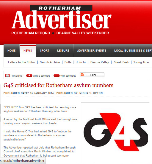Tizer G4S criticised for Rotherham asylum numbers part 2014-01-15