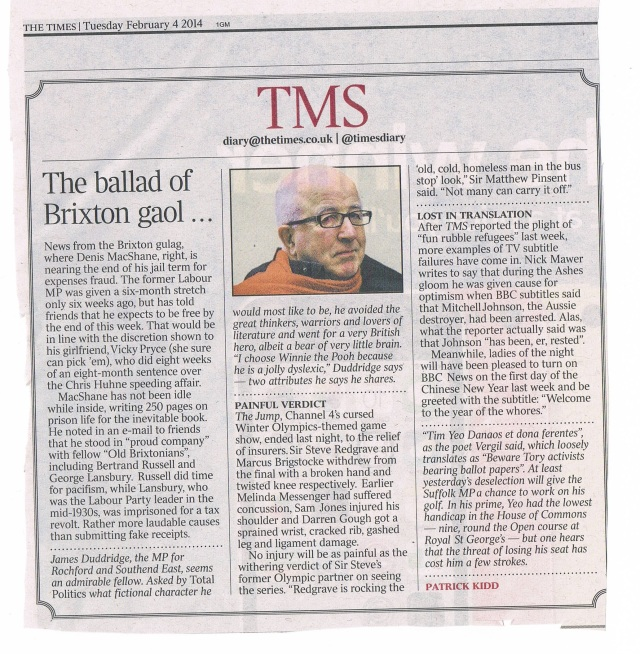 Times page 11 4th Feb 2014