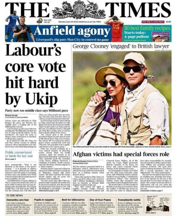 Times Front Page 28 April 2014
