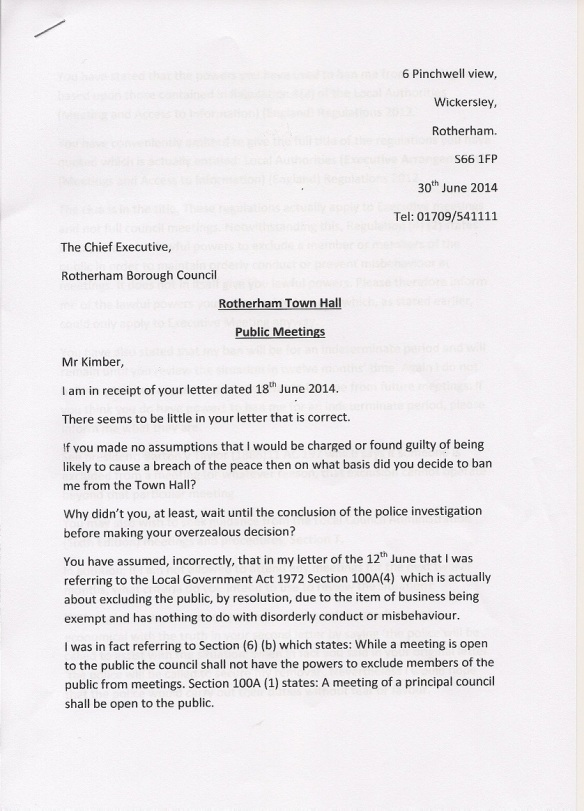 Town Hall Response Page 1. 30.6.14