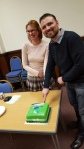 Newly elected Joint coordinators for Rotherham Green Party Rebecca Whyman and Paul Martin cut the cake