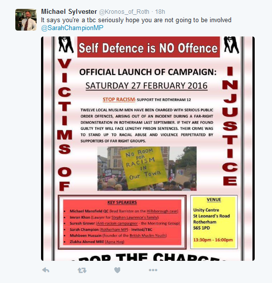 Sarah_Champion_MP_on_Twitter_@Kronos_of_Roth_They_distributed_the_poster_before_they_d_invited_me!_No,_not_attending_-_2016-02-17_17.57.31