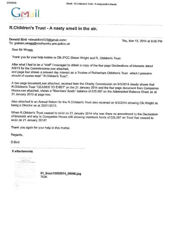 Shaun Wright and R Children!s Trust (Charity)