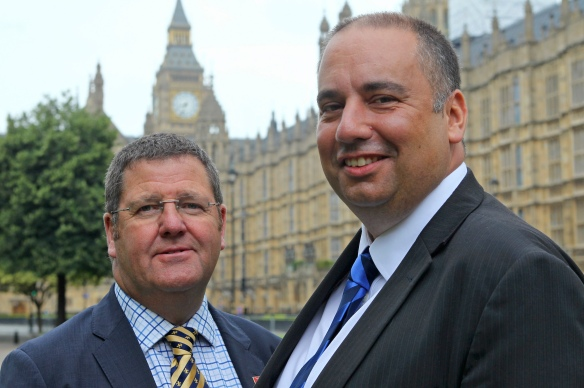 Picture: The Office of Mike Hookem MEP 30 July 2016 Caption: UKIP Leadership candidate, Bill Etheridge MEP (right) announces that Yorkshire & North Lincs. MEP, Mike Hookem (left) will be his running mate for deputy leader.